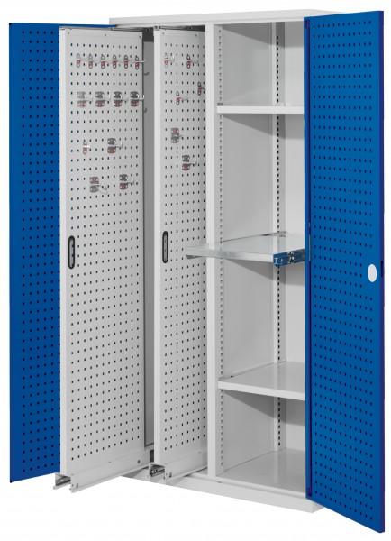 RasterPlan Vertikalschrank Modell 84, 1950 x 1000 x 600 mm, RAL 7035/5010. Türinnenseite: RasterPlan Lochplatten, 2 Auszüge Lochplatten, 2 Böden, 1 Auszugsboden.