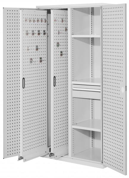 RasterPlan Vertikalschrank Modell 82, 1950 x 1000 x 600 mm, RAL 7035. Türinnenseite: RasterPlan Lochplatten, 2 Auszüge Lochplatten, 3 Fachböden, 1 Schubladen 175 mm.