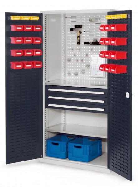 RasterPlan Schubladenschrank, Modell 22, RAL 7035/7016. Türinnenseite: Schlitzplatten 1950 x 1000 x 600 mm, 3 Schubladen H 100 mm, 2 Fachböden verzinkt.