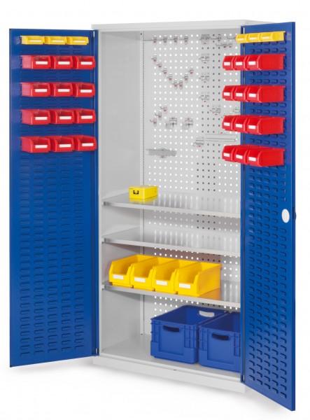 ®RasterPlan Werkzeugschrank Mod 6 500, H1950 x B1000 x T500 mm, RAL 7035/5010. Türinnenseite: ®RasterPlan Schlitzplatte, 3 Fachböden.