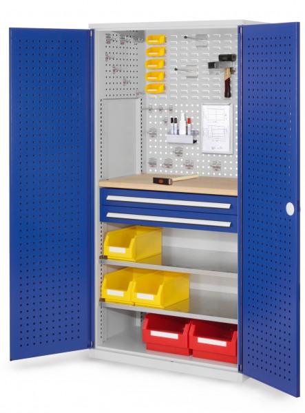 RasterPlan Schubladenschrank, Modell 14, RAL 7035/5010. Türinnenseite: Lochplatten, 1950 x 1000 x 600 mm, 2 Schubladen H 100 mm, 2 Fachboden verzinkt, 1 Werkbankplatte Multiplex.