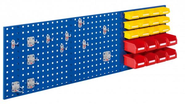RasterPlan Kombiplatte Set 3, RAL 5010. 3 x Kombiplatte H 450 x B 1500 mm, 8 x Lsk. Gr. 7, 12 x Lsk. Gr. 8, 1 x Werkzeughaltersort. 12-teilig.