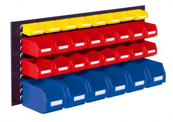 ®RasterPlan Schlitzplatten Einsteigerset 3, RAL 7016. 1 x Schlitzplatte H 450 x B 1000 mm, 6 x Lagersichtkästen Größe 6, 16 x Lagersichtkästen Größe 7, 8 x Lagersichtkästen Größe 8.