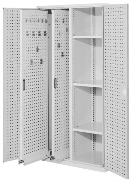 ®RasterPlan Vertikalschrank Modell 80, 1950 x 1000 x 600 mm, RAL 7035. Türinnenseite: ®RasterPlan Lochplatten, 2 Auzüge Lochplatten, 3 Böden