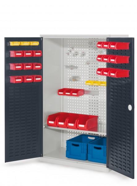 RasterPlan Werkzeugschrank Mod. 3 500, H1600 x B1000 x T500 mm, RAL 7035/7016. Türinnenseite: RasterPlan Schlitzplatte, 1 Fachboden.