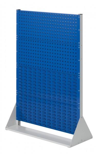 RasterPlan Stellwand Gr.4 doppelseitig, H1450 x B1000 x T430 mm, RAL 7035/5010. 4 Lochplatten, 4 Schlitzplatten.