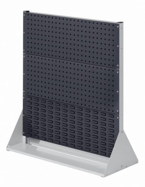 RasterPlan Stellwand Gr.3 doppelseitig, H1100 x B1000 x T430 mm, 7035/7016. 4 Lochplatten, 2 Schlitzplatten.