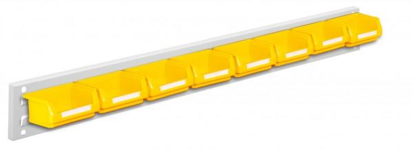 ®RasterPlan Wandschiene Schlitzplatte Set 2, L 920 mm, x H 100 mm, RAL 7035. 8 x Lagersichtkästen Größe 8.