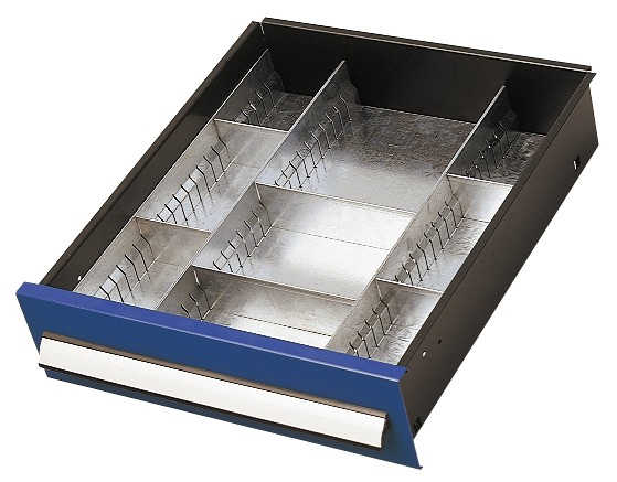 Einteilungsset für Schublade 125 mm, Schrank mit Mitteltrennwand.