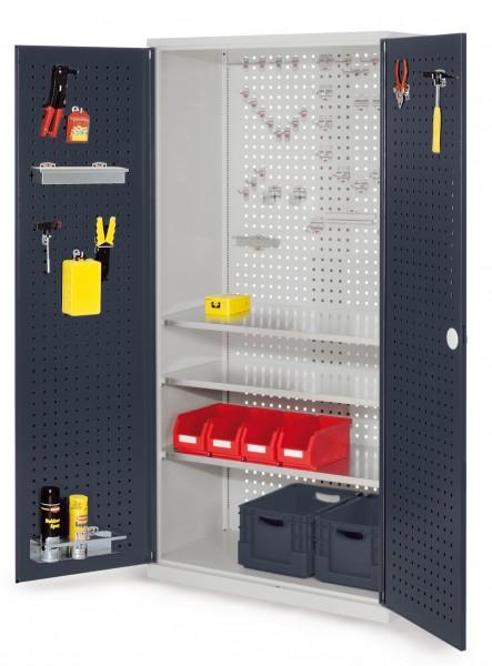 RasterPlan Werkzeugschrank Mod 6 500, H1950 x B1000 x T500 mm, RAL 7035/7016. Türinnenseite: RasterPlan Lochplatte, 3 Fachböden.