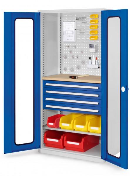 RasterPlan Schubladenschrank, Modell 36, RAL 703575010. Sichtfenstertür. 1950 x 1000 x 600 mm, 4 Schubladen H 100 mm, 1 Fachboden verzinkt, 1 Werkbankplatte Multiplex.