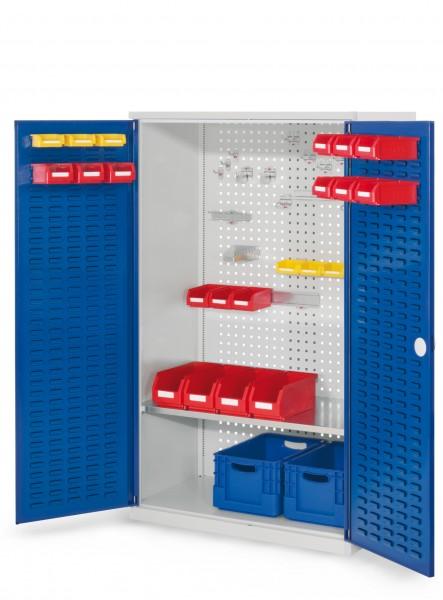 RasterPlan Werkzeugschrank Mod 3 500, H1600 x B1000 x T500 mm, RAL 7035/5010. Türinnenseite: RasterPlan Schlitzplatten-, 1 Fachboden.