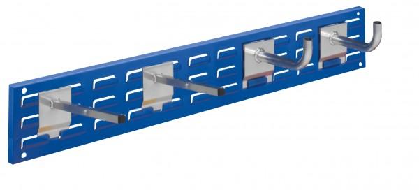 RasterPlan Wandschiene Schlitzplatte Set 12, L 920 mm, x H 140 mm, RAL 5010. 2 x Universalhalter, 2 x Rohrträger.