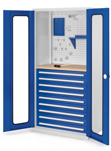 RasterPlan Schubladenschrank, Modell 37, RAL 7035/5010. Sichtfensterrüren 1950 x 1000 x 600 mm, 9 Schubladen H 100 mm, 1 Werkbankplatte Multiplex.
