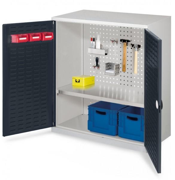 ®RasterPlan Werkzeugschrank Mod. 2 500, H1000 x B1000 x T500 RAL 7035/7016. Türinnenseite: ®RasterPlan Schlitzplatte, 1 Fachboden.