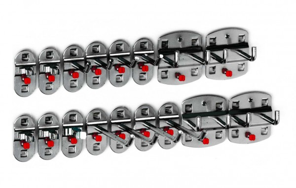 ®RasterPlan Werkzeughalter-Sortiment 17-teilig Anthrazitgrau 8 Werkzeughalter, schräges Hakenende, 4 Doppelte Werkzeughalter, senkrechtes Hakenende, 5 Werkzeugklemmen