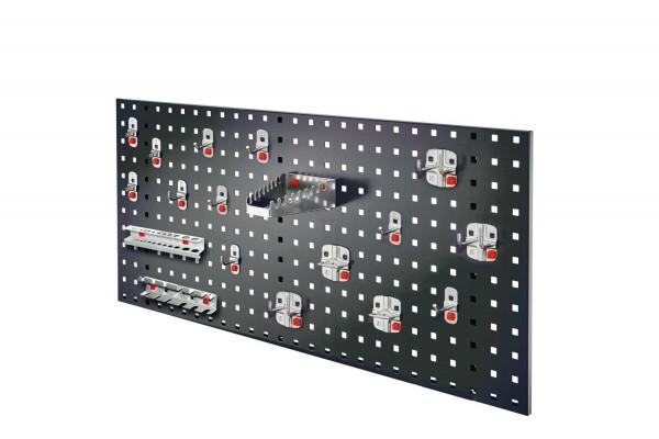 ®RasterPlan/ABAX Lochplatten Einsteigerset 6, RAL 7016. 1 x Lochplatte H 450 x B 1000 mm, 1 x Werkzeughaltersortiment 18-teilig.