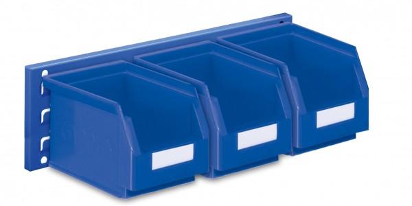 ®RasterPlan Wandschiene Schlitzplatte Set 7, L 460 mm, x H 140 mm, RAL 5010. 3 x Lagersichtkästen Größe 6.