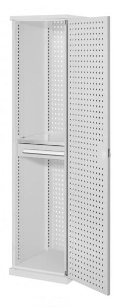 ®RasterPlan Schubladenschrank schmal Mod 3, 1950 x 600 x 600 mm, RAL 7035, Lochplattentür. 1 Fachboden verzinkt, 1 Schublade 125 mm.
