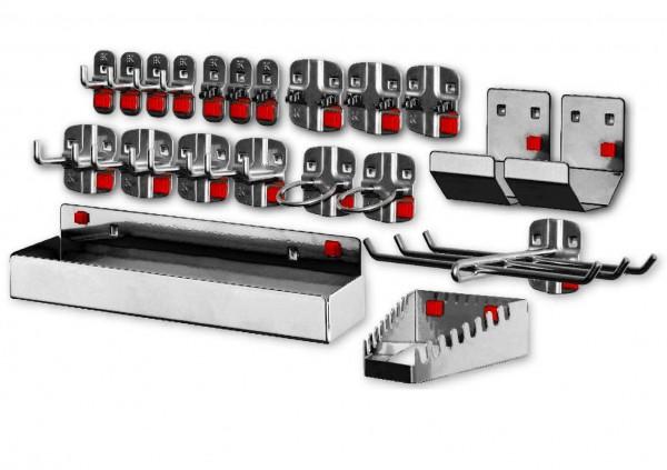 ®RasterPlan/ABAX Werkzeughalter-Sortiment, 21-teilig anthrazitgrau. 4 Werkzeughalter mit senkr. Ende, 4 Doppelter Werkzeughalter, 3 Werkzeugklemmen, 3 Doppelte Werkzeugklemmen, 2 Maschinenhalter, 1 Werkzeughalter 6-fach, 2 Rohrhalter, 1 Schraubenschl