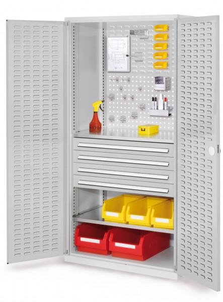 RasterPlan Schubladenschrank, Modell 23, RAL 7035. Türinnenseite: Schlitzplatten 1950 x 1000 x 600 mm, 4 Schubladen H 100 mm, 2 Fachböden verzinkt.