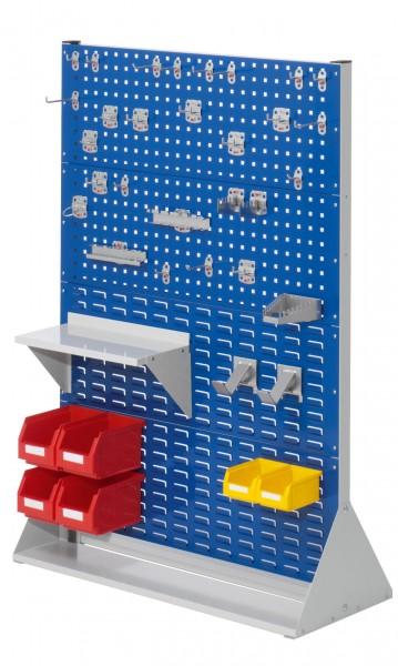 RasterPlan Stellwand Gr.4 doppelseitig, H1450 x B1000 x T430 mm, RAL 7035/5010. 1 x Werkzeughaltersortiment 28-teilig, 1 x Stahlboden 450 mm, 2 x Dornträger, 4 x Lsk. Gr. 6, 2 x Lsk. Gr. 7.