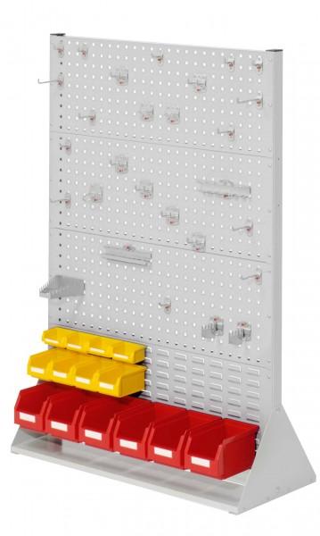 RasterPlan Stellwand Gr.4 doppelseitig, H1450 x B1000 x T430 mm, RAL 7035. 1 x Werkzeughaltersortiment 28-teilig, 6 x Lsk. Gr. 6, 4 x Lsk. Gr. 7, 4 x Lsk. Gr. 8.