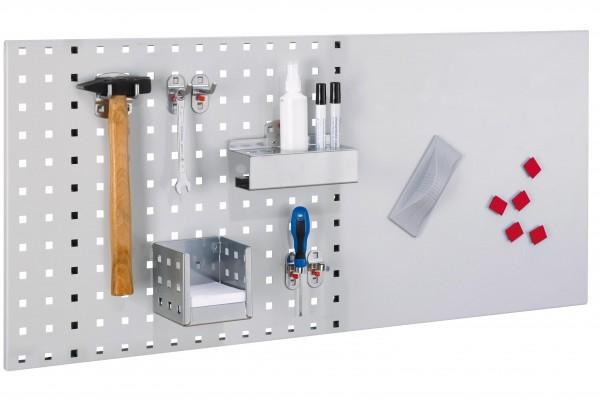 LogoChart Lager Set 4, RAL 7035. 1 LogoChart®, RAL 7035, 1 Doppelter Werkzeughalter, 2 Werkzeughalter schräges Ende, 2 Werkzeugklemmen, 1 Kombi Stifthalter, 1 Zettelbox, 5 Magnete, 1 Wischer (magnetisch), 1 Reinigungsspray2, Non-Permanent-Stifte (sc
