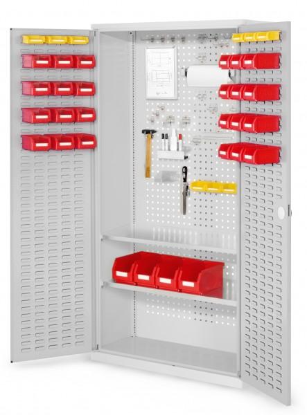 RasterPlan Werkzeugschrank Mod 5 410, H1950 x B1000 x T410 mm, RAL 7035. Türinnenseite: RasterPlan Schlitzplatten-, 2 Fachböden.
