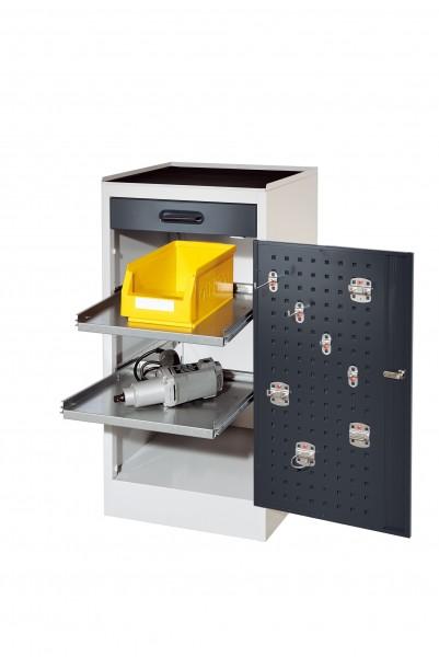 RasterPlan Arbeitsplatzschrank Modell 1S, H 1000 x B 500 x T 500 mm RAL 7035/7016, 1 Schublade, 2 ausziehbare Böden.