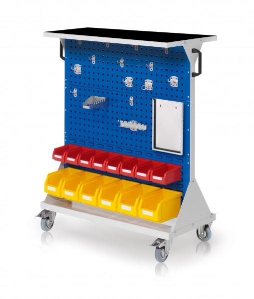 RasterMobil Gr. 3 RAL 7035/5010, H1270 x B1000 x T500 mm. 1 x Auflageboden aus Stahlblech inkl. Riffelgummimatte, 1 x Werkzeughaltersort. 15-teilig, 1 x Formularhalter A4, 6 x Lsk. Gr. 68 x Lsk. Gr. 7.