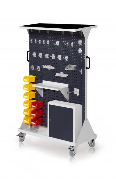 RasterMobil Gr. 4 RAL 7016, H1620 x B1000 x T500 mm. 1 x Auflageboden aus Stahlblech inkl. Riffelgummimatte, 1 x Werkzeughaltersort. 28-teilig, 1 x Stahlboden 450 mm, 1 x Universalhalter, 1 x Einhängeschrank, 9 x Lsk. Gr. 7.