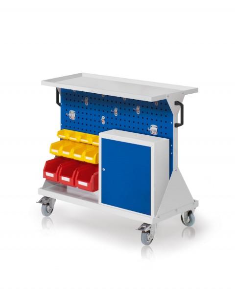 RasterMobil Gr. 2 RAL 7035/5010, H 930 x B 1000 x T 500 mm. 1 x Auflageboden aus Stahlblech, 1 x Werkzeughaltersort. 10-teilig, 1 x Einhängeschrank, 3 x Lsk. Gr. 6, 4 x Lsk. Gr. 7, 4 x Lsk. Gr. 8.
