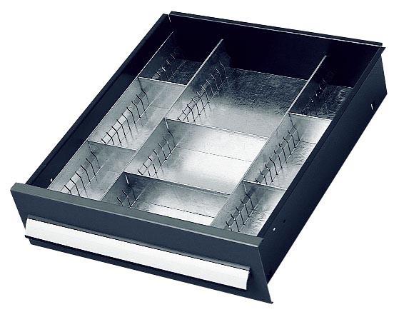Einteilungsset für Schublade 100 mm, Schrank mit Mitteltrennwand.