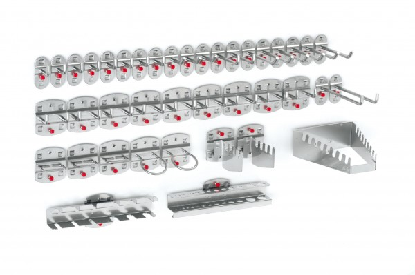 ®RasterPlan Werkzeughalter-Sortiment 40-teilig Alufarben 9 Werkzeughalter, schräges Hakenende, 12 Werkzeughalter, senkrechtes Hakenende, 9 Doppelte Werkzeughalter, senkrechtes Hakenende, 3 Zangenhalter, 2 Maschinenhalter, 1 Schraubenschlüsselhalter,