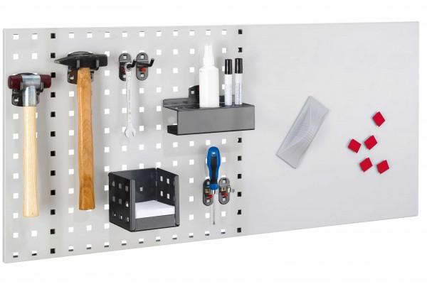 LogoChart Lager Set 2, RAL 7035/7016. 1 LogoChart®, RAL 7035,2 Doppelte Werkzeughalter,2 Werkzeughalter schräges Ende, 2 Werkzeugklemmen, 1 Kombi Stifthalter, 1 Zettelbox, 5 Magnete, 1 Wischer (magnetisch), 1 Reinigungsspray, 2 Non-Permanent-Stifte (