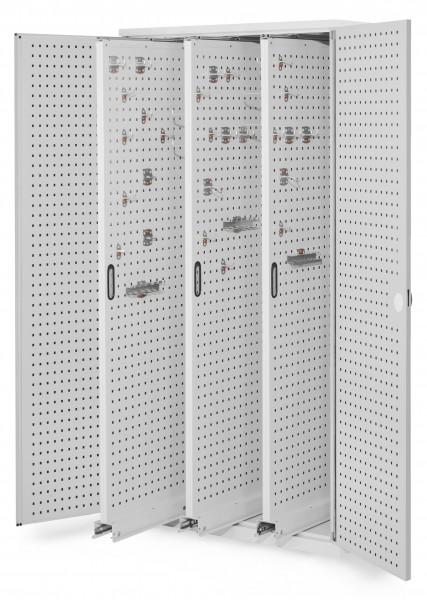 RasterPlan Vertikalschrank Modell 85, 1950 x 1000 x 600 mm, RAL 7035. Türinnenseite:n RasterPlan Lochplatten. 3 Auszüge Lochplatten.