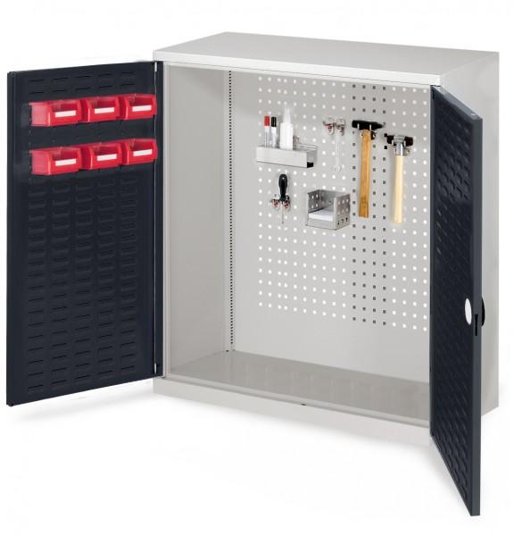 RasterPlan Werkzeugschrank Mod 1 410, H1000 x B1000 x T410 mm, RAL 7035/7016. Türinnenseite: RasterPlan Schlitzplatte.