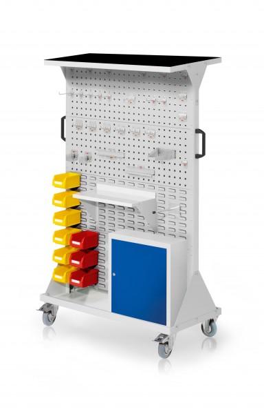 RasterMobil Gr. 4 RAL 7035, H1620 x B1000 x T500 mm. 1 x Auflageboden aus Stahlblech inkl. Riffelgummimatte, 1 x Werkzeughaltersort. 28-teilig, 1 x Stahlboden 450 mm, 1 x Universalhalter, 1 x Einhängeschrank, 9 x Lsk. Gr. 7.