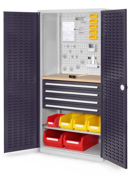 RasterPlan Schubladenschrank, Modell 26, RAL 7035/7016. Türinnenseite: Schlitzplatten 1950 x 1000 x 600 mm, mm 4 Schubladen H 100 mm, mm 1 Fachböden verzinkt 1 Werkbankplatte Multiplex.