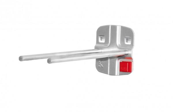 ®RasterPlan/ABAX® Doppelter Werkzeughalter, gerader Dorn Länge 150 mm Alufarben