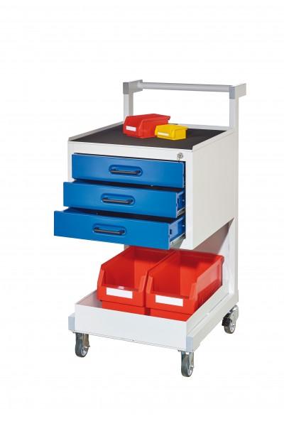 ®RasterPlan Montagewagen RAL 7035/5010, B 500 x T 660 x H 1050 mm..