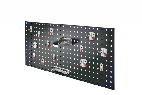 ®RasterPlan / ABAX Lochplatten Einsteigerset 5, RAL 7016. 1 x Lochplatte H 450 x B 1000 mm, 1 x Werkzeughaltersortiment 15-teilig.