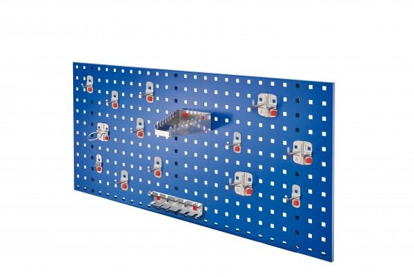 RasterPlan / ABAX Lochplatten Einsteigerset 5, RAL 5010. Bestehend aus 1 Lochplatte 1000 mm, 1 ABAX Werkzeughaltersortiment 15-teilig,