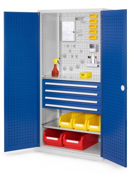®RasterPlan Schubladenschrank, Modell 13, RAL 7035/5010. Türinnenseite: Lochplatten, 1950 x 1000 x 600 mm, 4 Schubladen H 100 mm, 2 Fachböden verzinkt.