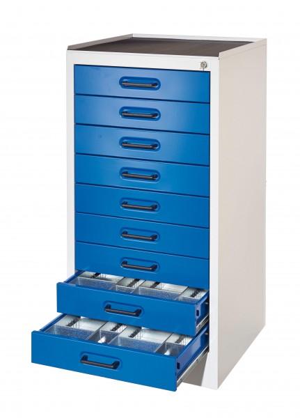 ®RasterPlan Arbeitsplatzschrank Modell 3, 9 Schubladen RAL 7035/5010.