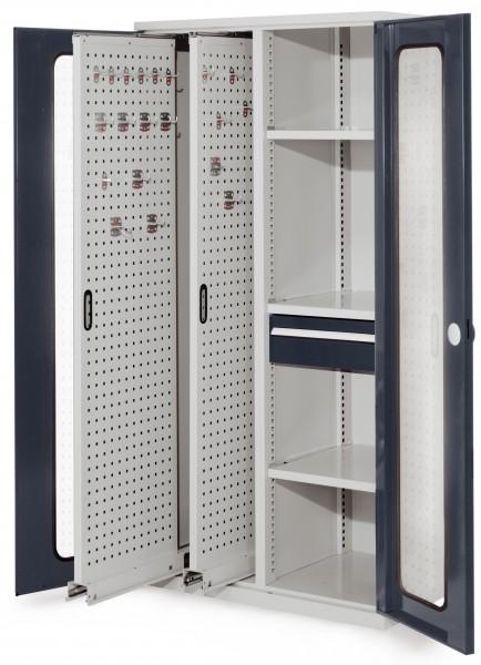 ®RasterPlan Vertikalschrank Modell 82, 1950 x 1000 x 600 mm, RAL 7035/7016. Sichtfenstertür. 2 Auszüge Lochplatten, 3 Böden, 1 Schubladen 175 mm.
