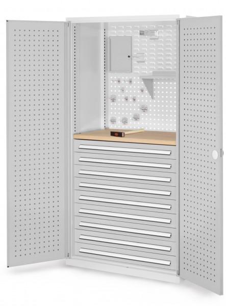 ®RasterPlan Schubladenschrank, Modell 17, RAL 7035. Türinnenseite: Lochplatten, 1950 x 1000 x 600 mm, 9 Schubladen H 100 mm, 1 Werkbankplatte Multiplex.