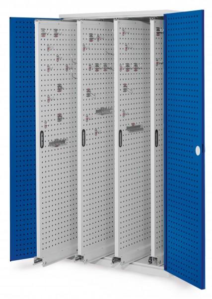 ®RasterPlan Vertikalschrank Modell 83, 1950 x 1000 x 600 mm, RAL 7035/5010. Türinnenseite: ®RasterPlan Lochplatten. 4 Auszüge Lochplatten.