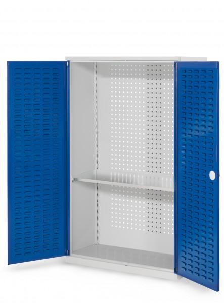 RasterPlan Werkzeugschrank Mod. 3 410, H1600 x B1000 x T410 mm, RAL 7035/5010. Türinnenseite: RasterPlan Schlitzplatten, 1 Fachboden.
